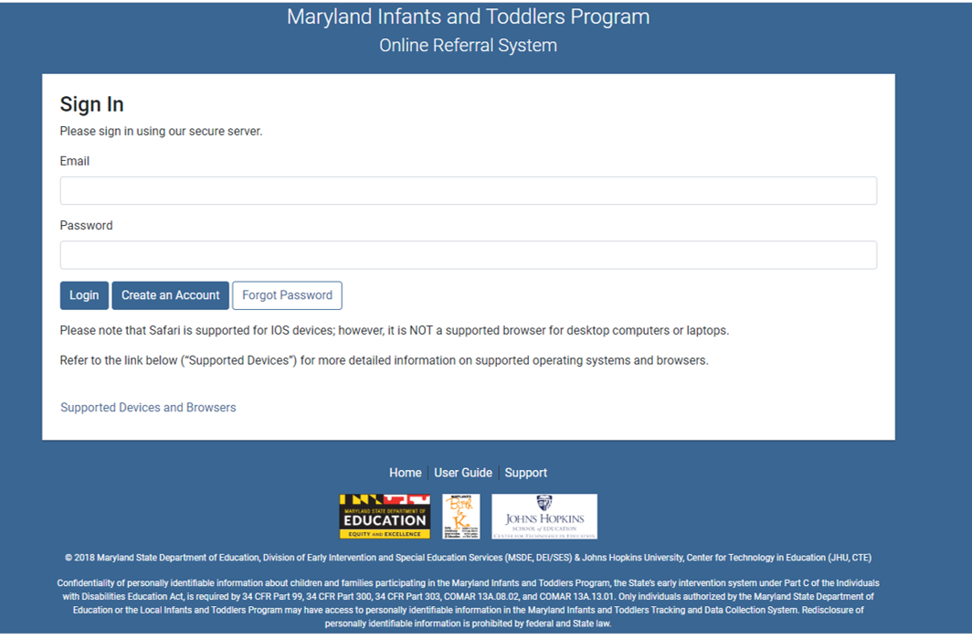Maryland Infants and Toddlers Program Log In Screen Print