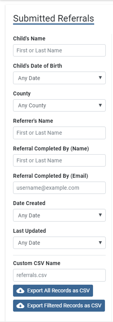 Search menu on the left of the submitted referrals screen